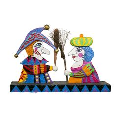 """Punch and Judy"" Papier Mache Sculpture."
