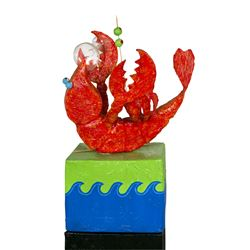 """Lobster Drinking a Martini"" Papier Mache Sculpture."