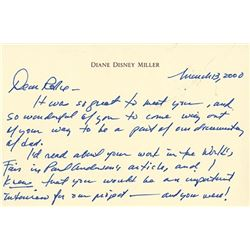 Signed Letter from Diane Disney Miller to Rolly Crump.