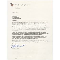 "Michael Eisner Signed ""Disney Legends"" Award Letter."
