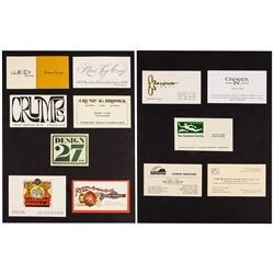 Collection of Rolly Crump's Business Cards.