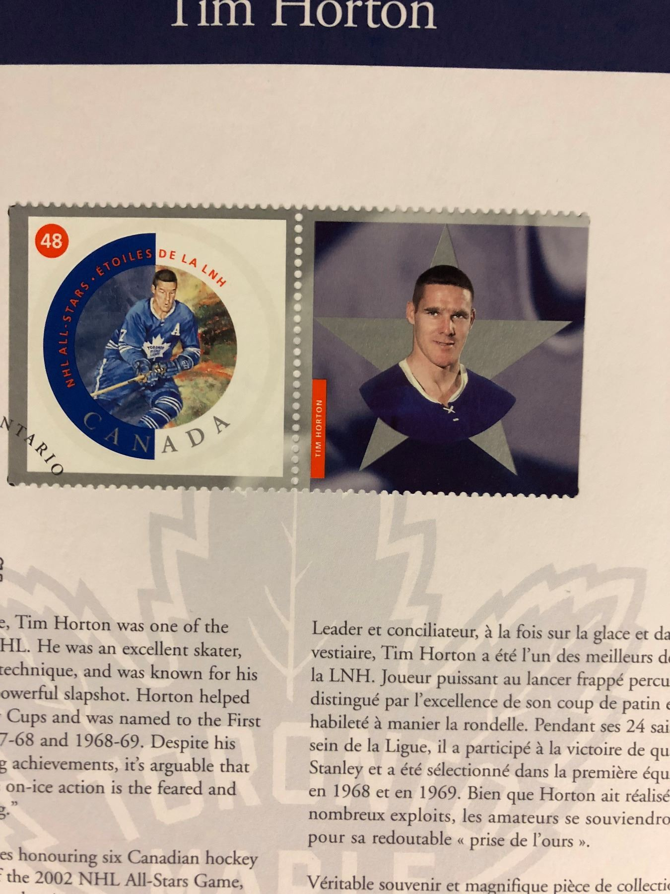 COLLECTIBLE NHL PLAYERS CANADIAN STAMP LOT (SHORE, BOSSY, POTVIN, HULL,  HORTON)