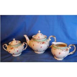 Porcelain tea set, Green Vintage Rose