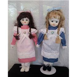"Blue & pink dolls w/ porcelain head & hands,16 ½"" t, unmarked"