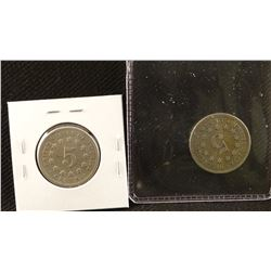 2 coins: 1868 P and 1869 P Shield nickels, both extra fine