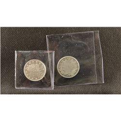 """2 - 1883 P Liberty Head nickels, no """"cents"""", fine"""
