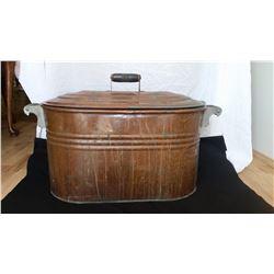 """Copper wash tub with lid, 29"""" l x 13"""" w"""
