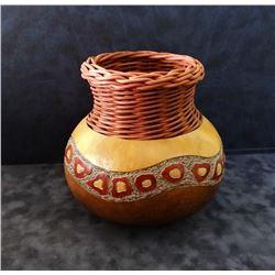 "Southwestern-style hand decorated vessel, 8"" h, Denise Pfau, maker"