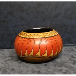 "Southwestern-style hand decorated vessel, 4"" h, Denise Pfau, maker"