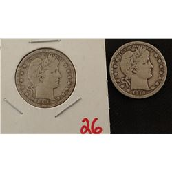 1916 D and 1914 P Barber quarters, extra fine and fine