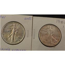 2 1941-P Walking Liberty half dollars, both uncirc.