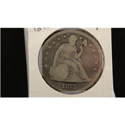 1872 P Seated Liberty silver dollar, vg