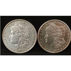 2 - 1878-S Morgan dollars, both fine