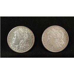2 - 1890 Morgan dollars, one P, one S, both fine