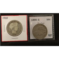 2 Barber half dollars, 1894 S and 1895 P, both extra fine