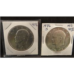 2 Ike dollars, 1976 and 1971, 80% silver
