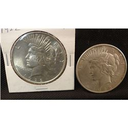 2 Peace dollars, 1928 P and 1922 P, both extra fine