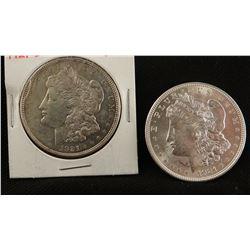 2 Morgan dollars, 1921 D extra fine and 1921 P uncirc.