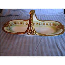 """3 Limoges dishes: gold trimmed, 13 1/2"""";  pot w/lid, 5"""" w x 4"""" h and 13"""" celery"""
