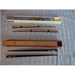 2 sets fancy chop sticks, cased