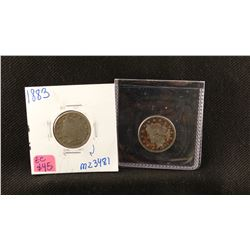"""2 Liberty Head nickels, 1883 and 1899 with """"cents"""", both fine"""
