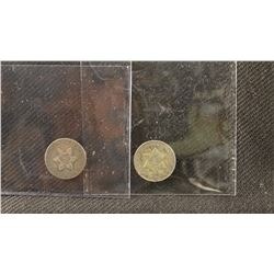 2 - Three cent silver coins, 1852 and 1853, both fine