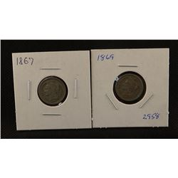 2 - Three cent nickel coins, 1869 and 1867, both extra fine
