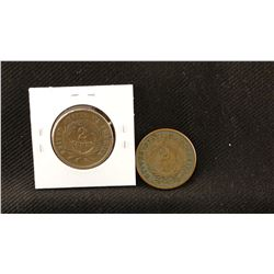 2 - Bronze Two cent pieces, 1864 and 1865, both fine