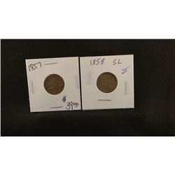 2 - Flying Eagle Small Cents, 1858-P and 1857-P, both fine