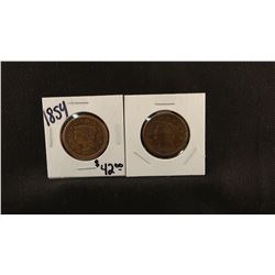 2 - Braided Hair Large Cents, 1853-P and 1854-P, about fine