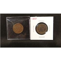 2 Braided Hair half cents, 1851 and 1853, extra fine and fine