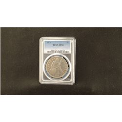 1871 Seated Liberty silver dollar, PCGS VF20