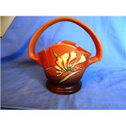 "Roseville Freesia brown basket, 391-8"""