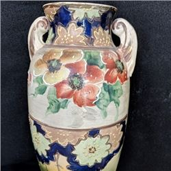 """Vintage floral pottery vase with handles 13"""" high"""