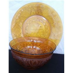 """Anchor Hocking amber bowl and plate. Bowl is 9"""" W, Plate is 12"""". Amber Fostoria snack tray with hand"""