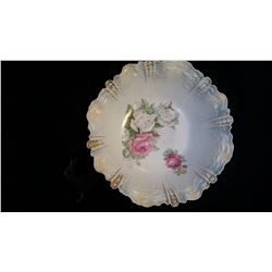 R S Prussia bowl. Ca 1905-1910, green wreath with red writing stamped #34. Rose print with scalloped