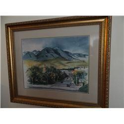 "Margaret Hunter original water color, Main Street, Lewistown, MT, 12"" x 16"""