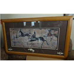 "Spanish vintage horse print, framed, 12"" x 32"""