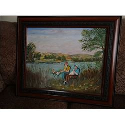 "Alice Bair painting The Good Life, Judith Gap, MT, 16"" x 20"", framed"