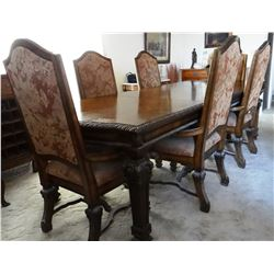 """Mediterranean-style 106"""" dining table with 6 chairs w/padded seats, nice"""