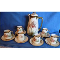 Bavaria chocolate set, pitcher & 6 cups, gold trimmed