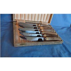 Sheffield stag horn handle steak knife set, cased