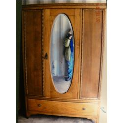 Oak wardrobe, beveled mirror