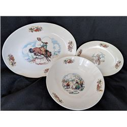 1950's Home Laughlin Rhythm Western platters and bowl