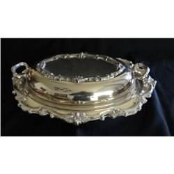 Gorham sterling silver cream/sugar set w/silver plated tray and Silver plated double serving dish, 1