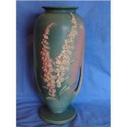 """Roseville Foxglove green vase, 56-18"""", mint"""