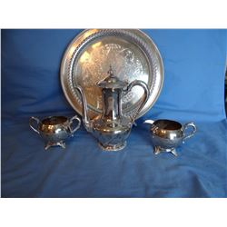 Sterling silver bowl, Reed and Barton and Silver plated tea service set