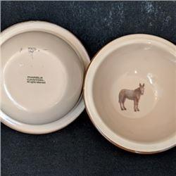 """Marble Canyon burro/donkey enamelware with horseshoes 6 ½"""""""