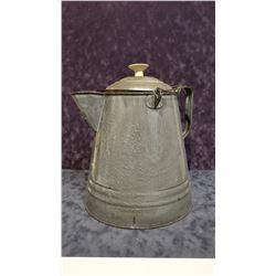 Granite-ware camp coffee pot, replaced lid knob