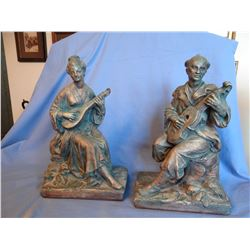 """Oriental book ends 1916 Cast metal """"The Good Fairy"""" and Michelangelo """"Moses the Law Giver"""" plaster m"""
